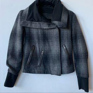 A.L.C Plaid Print Black Gray Moto Jacket Size 4
